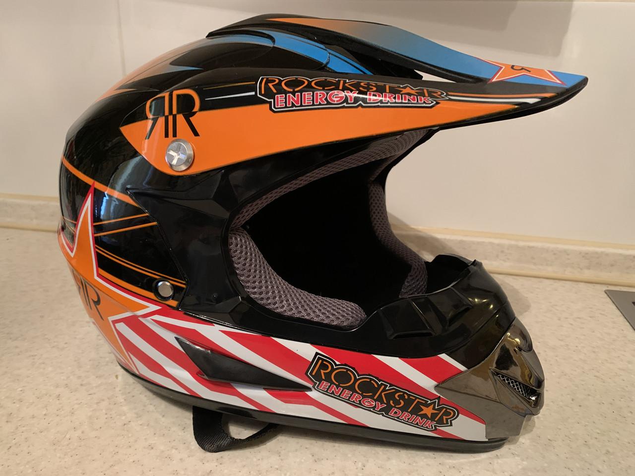 Черно-оранжевый Кроссовый мото шлем Rockstar (эндуро, даунхил)