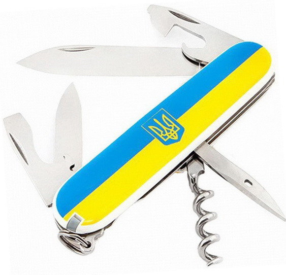 Нож складной, мультитул Victorinox Spartan Ukraine Герб (91мм, 12 функций), желто-голубой 1.3603.7R4