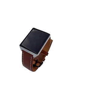 Фитнес-браслет Mavens fit CK19 серебряный с кожаным коричневыйм ремешком