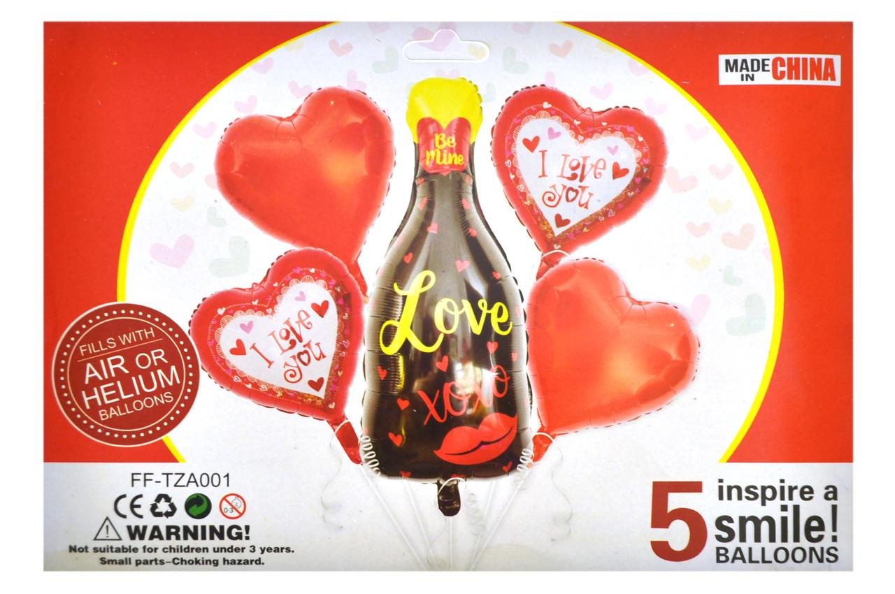 "Набор ""Love"" 18"" сердце 4 шт + 1шт бутилка 38x80cм"