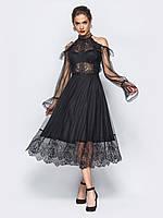 Вечернее платье черное с гипюром 44 46 48