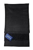 Шарф мужской шерстяной Vels 27 (190*32, черный с серым орнаментом)
