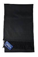 Шарф мужской шерстяной Vels 28 (190*32, чёрный c орнаментом хаки)