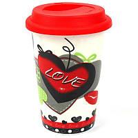 Кружка с силиконовой крышкой в подарочной упаковке Love - 203753