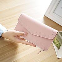 Клатч-кошелек женский стильный «Vogue» длинный в виде конверта (персиковый)