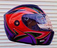 Шлем трансформер FGN красный женский с тёмными очками
