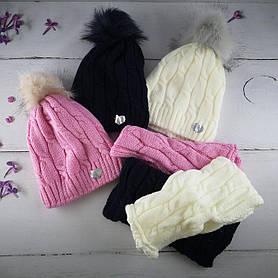 Комплект в'язаний для дівчаток Шапка+хомут Розмір 52-54 З помпоном Мікс колір. 2382(52-54) Vertex Україна