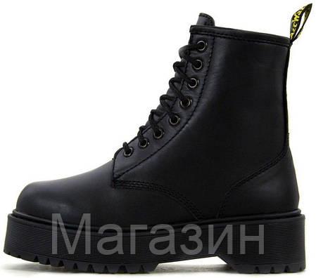 Зимние женские ботинки Dr. Martens Jadon Boot Mono Black Доктор Мартинс Жадон черные С МЕХОМ, фото 2