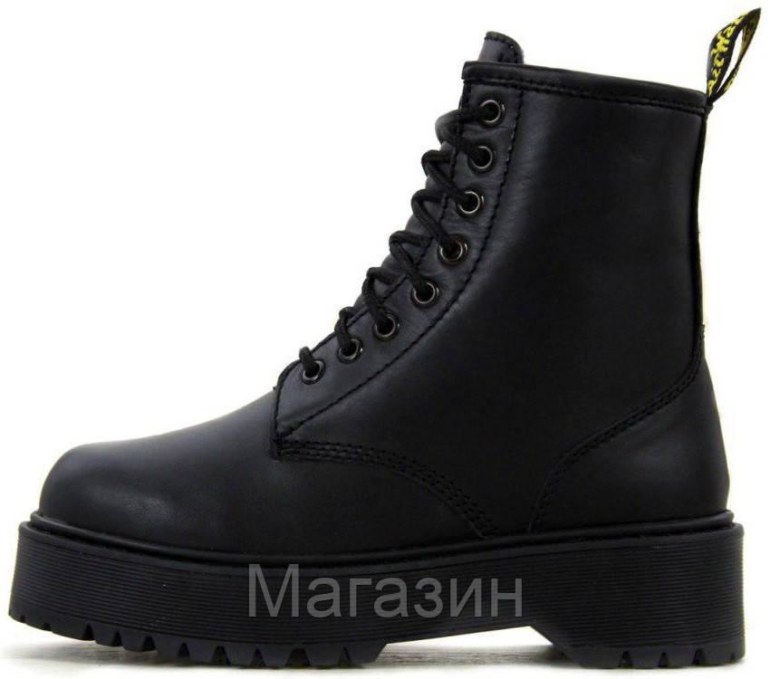 Зимние женские ботинки Dr. Martens Jadon Boot Mono Black Доктор Мартинс Жадон черные С МЕХОМ