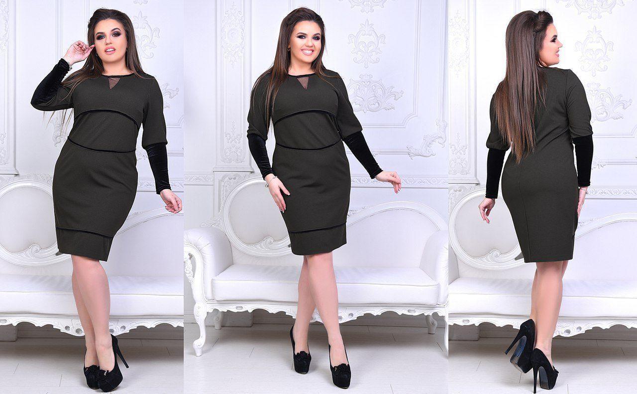 """Нежное женское платье с V-образным вырезом ткань """"Кукуруза+Бархат"""" 56 размер батал"""
