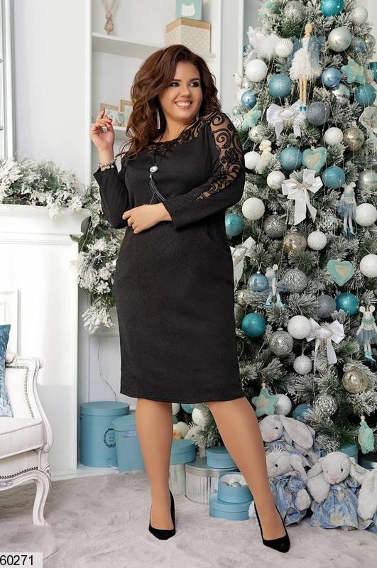 Нарядное черное платье больших размеров, фото 2
