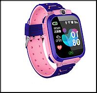 Дитячі смарт-годинник S12 з GPS рожеві IP68 Водонепроникні Смарт-годинник з sim-картою, фото 1