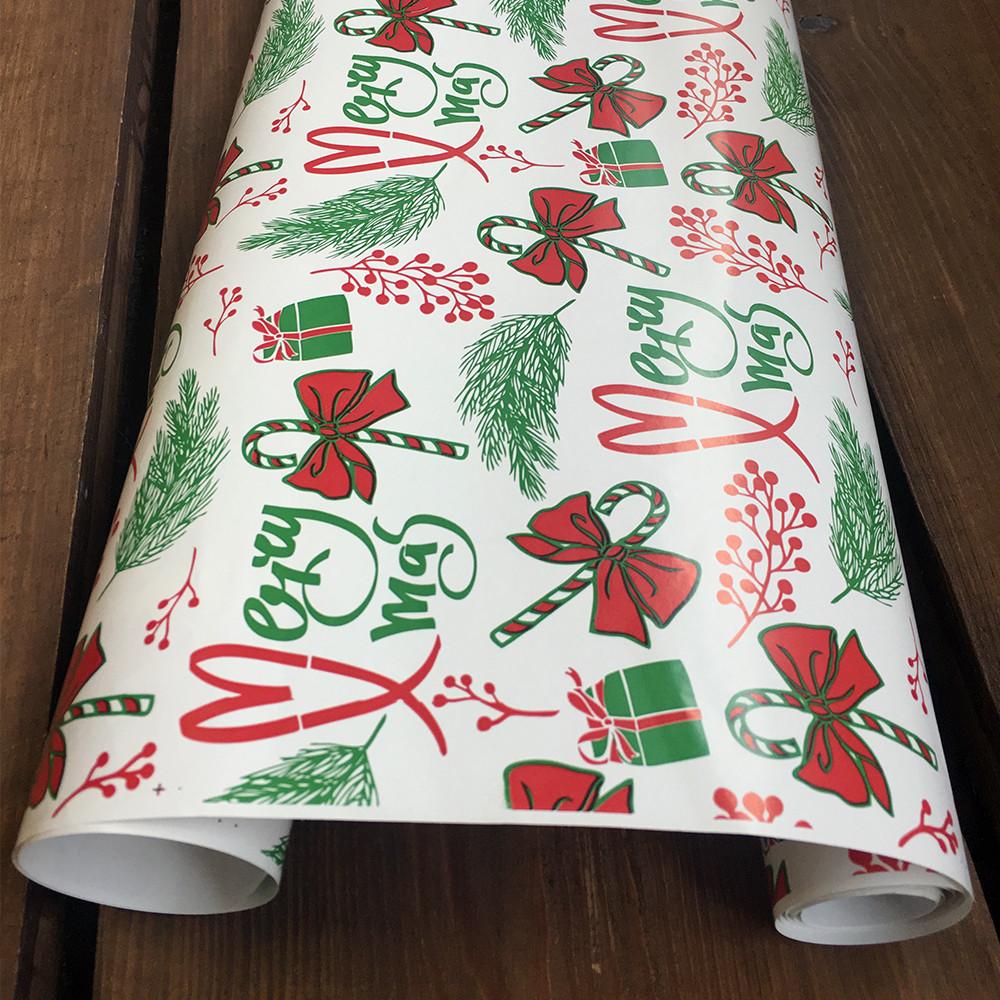"""Подарунковий папір крейдований, з принтом """"Різдво"""", 0.68 x 1 метр. 70 г/м2. LOVE & home біла"""