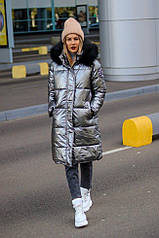 Зимнее удлиненное женское пальто . Серебро синий. Размеры M, L, XL