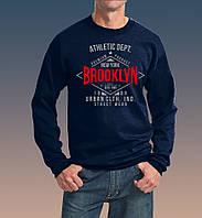 """0029-150-SWRA NY  Мужская толстовка с длинными рукавами """"АТЛЕТИК БРУКЛИН """", темно-синяя"""