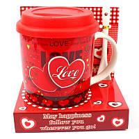Чашка с силиконовой крышкой и ложкой Love - 203656