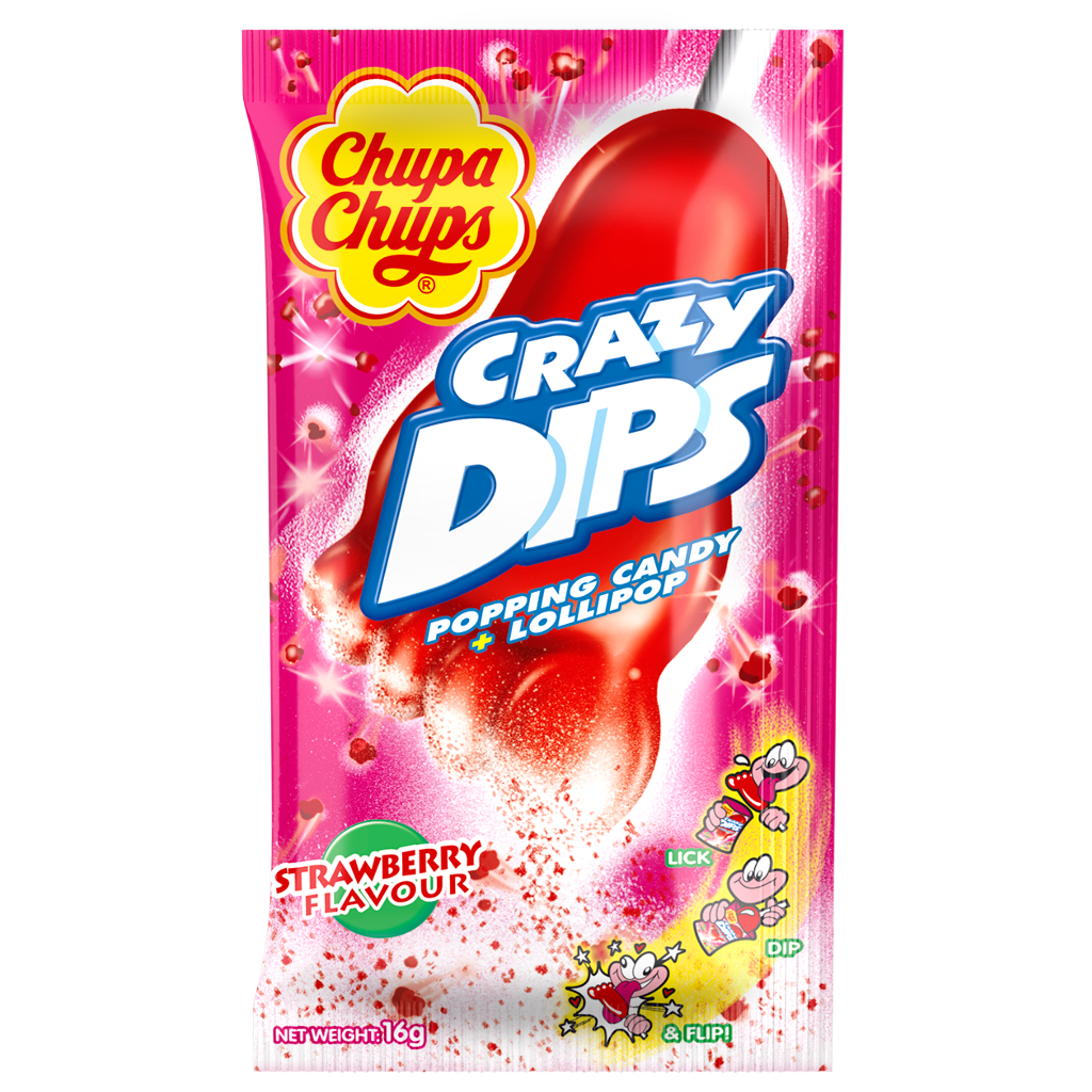 Леденцы Chupa Chups Crazy Dips Strawberry