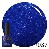 Гель-лак NUB Galaxy Tears № 037 (темно-синий с цветными блестками), 8 мл
