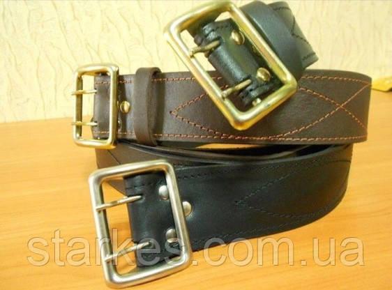 Ремни кожаные пряжка латунь, офицерские коричневые, код : 505.