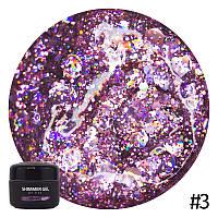 Гель для дизайна NUB Shimmer Gel № 03 (нежно-розовый, голографический, микс блесток и конфетти), 5 мл