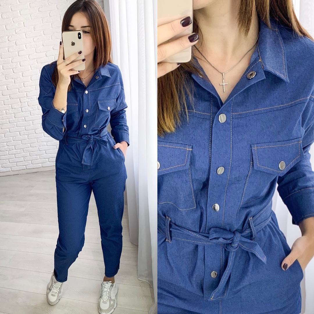Комбинезон женский, плотный джинс ,на кнопках, длинный рукав, повседневный, стильный, модный