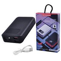Power Bank JS-10X FAST CHARGING 3600mAh 2USB(1A+2A)+1Micro USB+ 1Type-C цифровой дисплей, фонарик 1LED