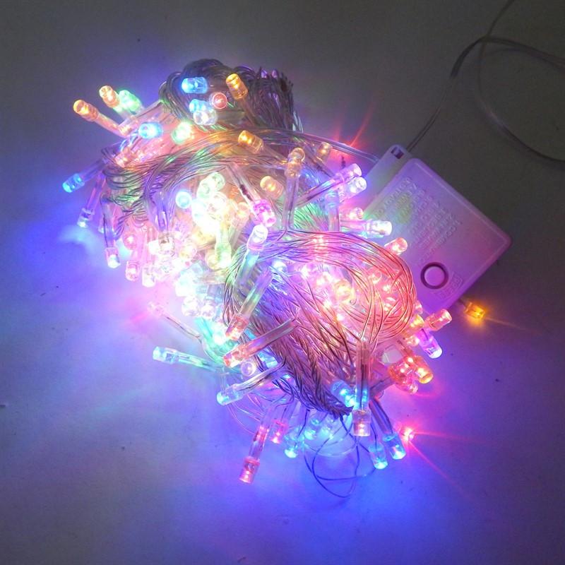 Гирлянда Нить электрическая 300 led, мульти, прозрачный провод, 14,5м.