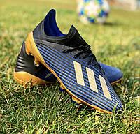 Бутсы ( Адидас Х) Adidas X 19.1 FG Core Black/Gold Mettalic blue
