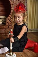 Шляпка с вуалью красная, вуалетка детская красная