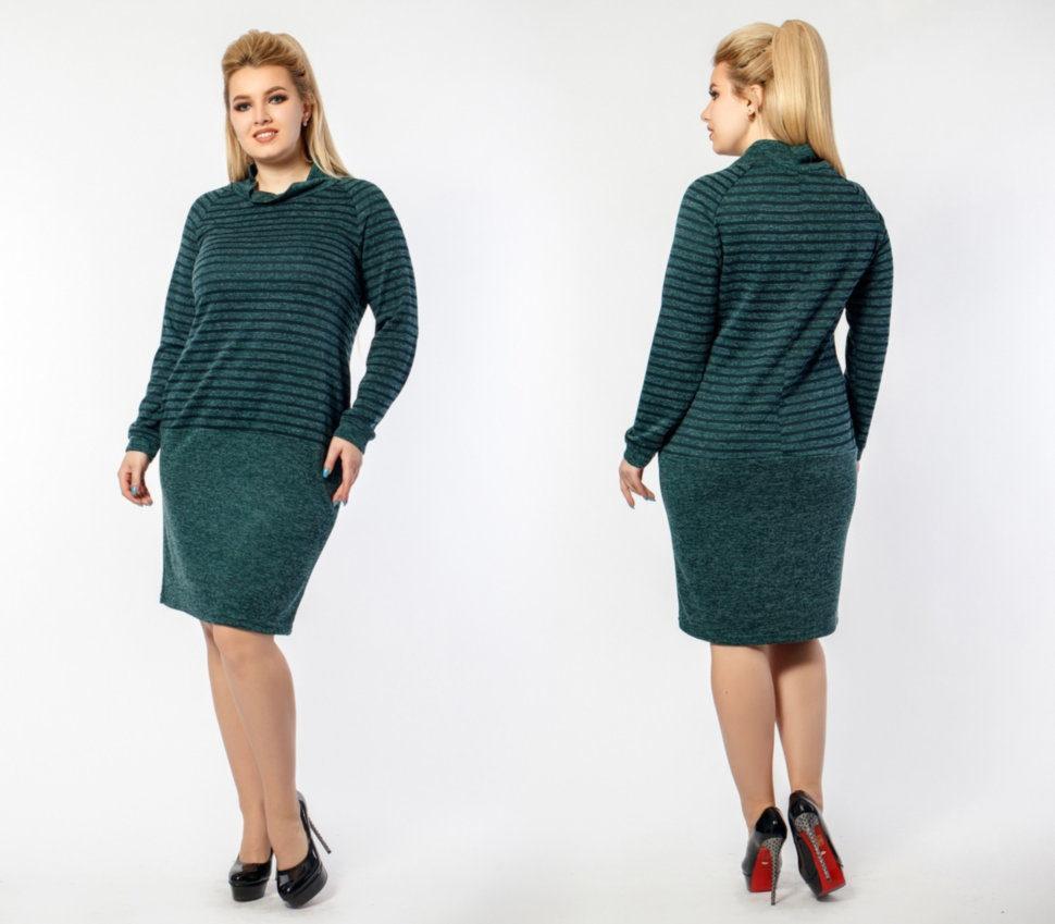 """Комфортное  женское платье ткань """"Ангора"""" мягкая 48 т-з размер батал"""