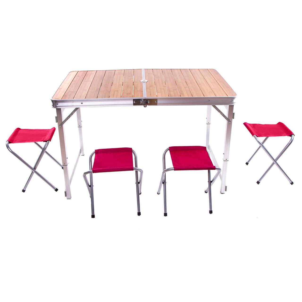 Стол «HX-9001» бамбуковый складной + 4 стула 120x70x70 см