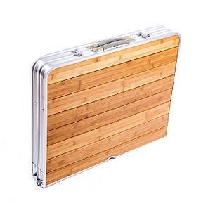 Стол «HX-9001» бамбуковый складной + 4 стула 120x70x70 см, фото 2