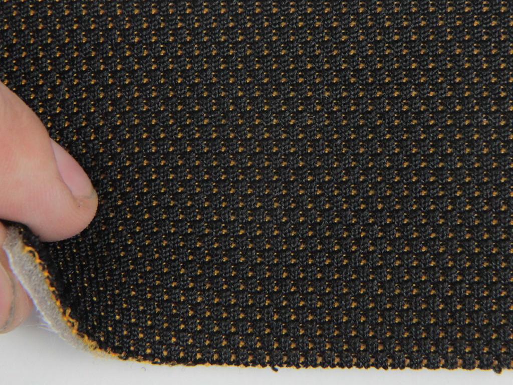 Ткань для сидений автомобиля, черный з оранжевыми точками , на поролоне и сетке (для центральной части)