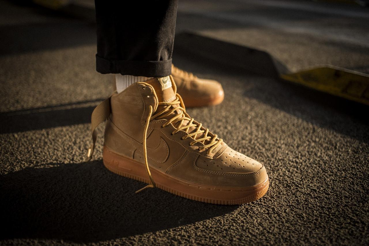 Мужские кроссовки Nike Air Force 1 Mid Flax ( Реплика )
