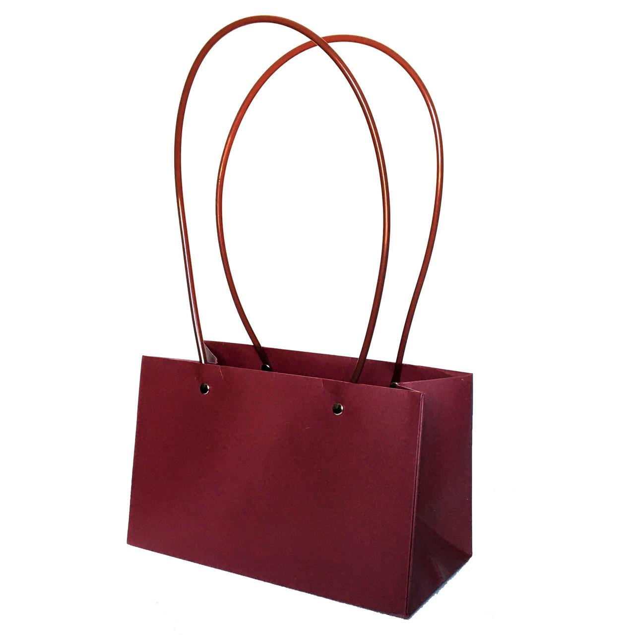 Паперова сумка прямокутна вологостійка для букетів бордова