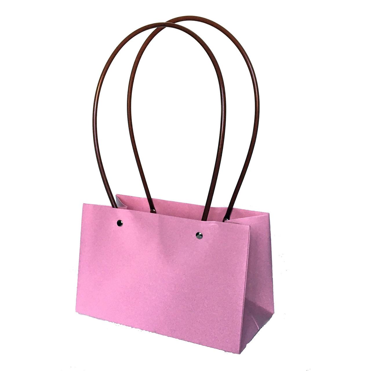 Бумажная сумка прямоугольная влагостойкая для букетов розовая