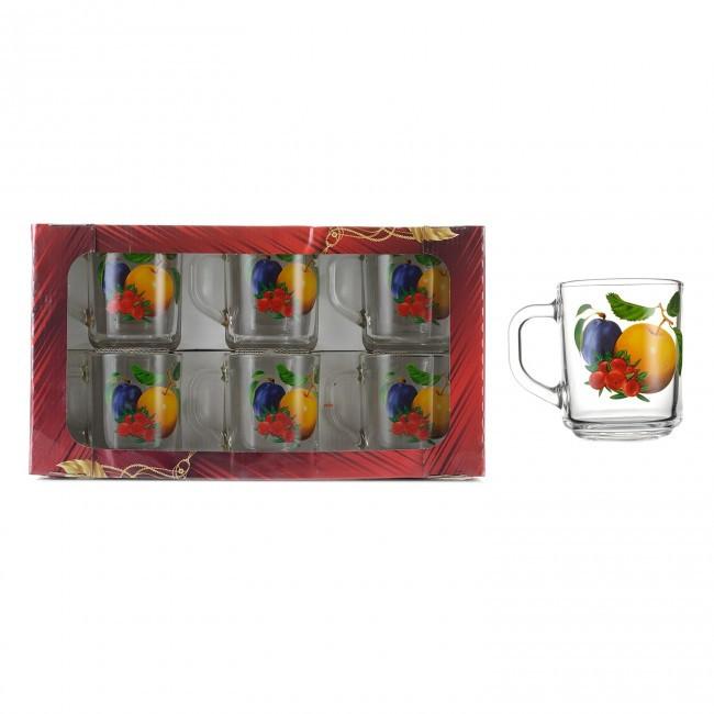 """Набір кухлів """"Ретро"""" з фруктами 250 мл 6 шт (8253)"""