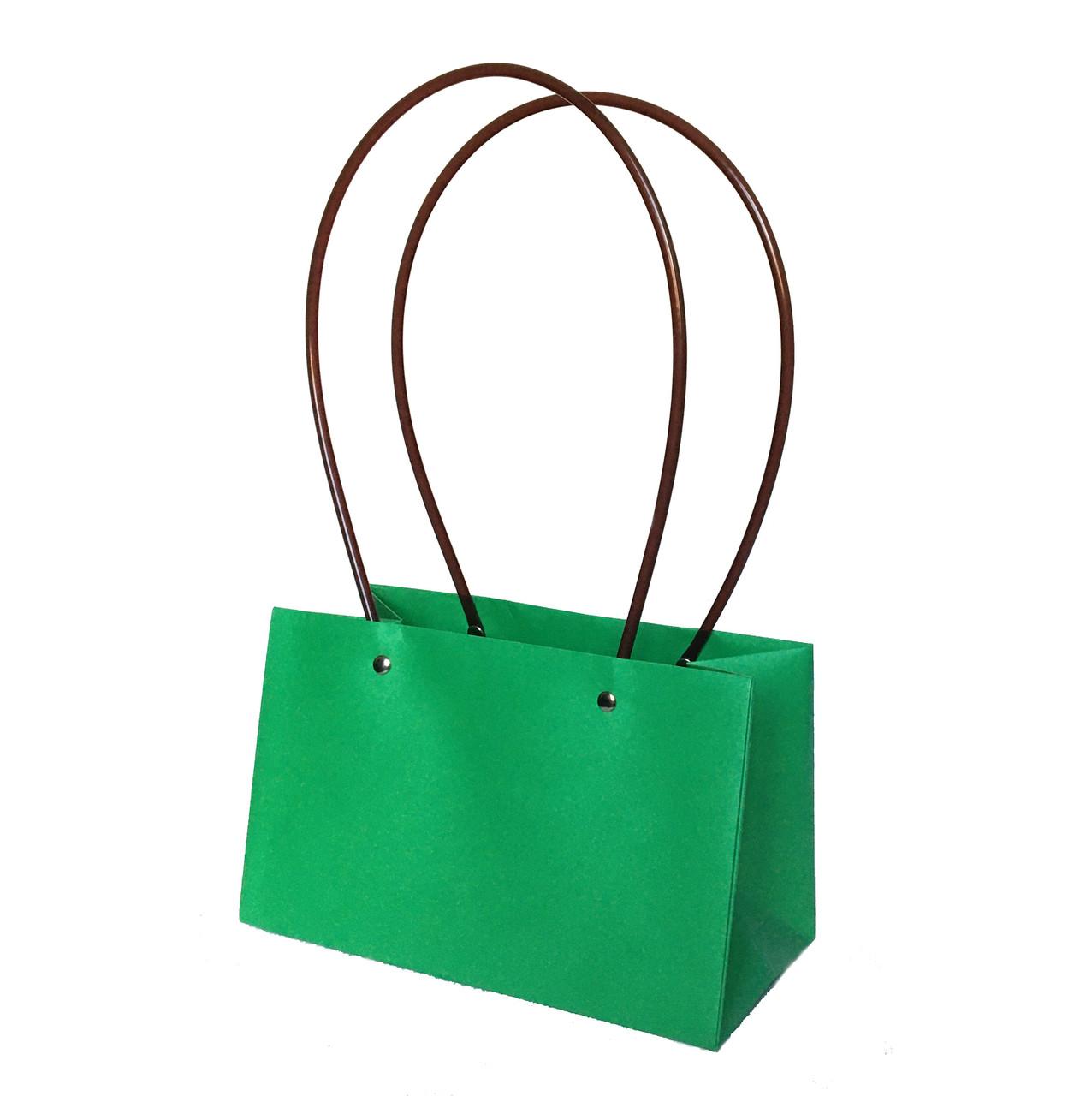 Паперова сумка прямокутна вологостійка для букетів салатова