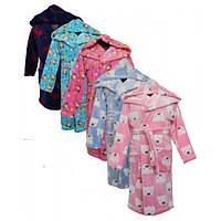Детский халат велсофт цветной с капюшоном и карманами от 1 до 11 лет , тёплый халат детский