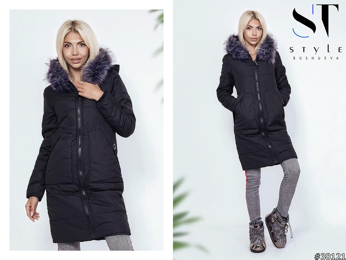 Уютное пальто декорированное мехом