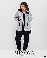 Утепленный спортивный костюм с удлиненной кофтой:  брюки высокой посадки, прямые с 50 по 64 размер