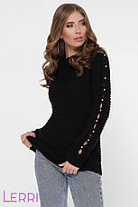 Теплый женский свитер на зиму с круглым вырезом и манжетами на рукавах, фото 2