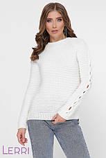 Теплый женский свитер на зиму с круглым вырезом и манжетами на рукавах, фото 3