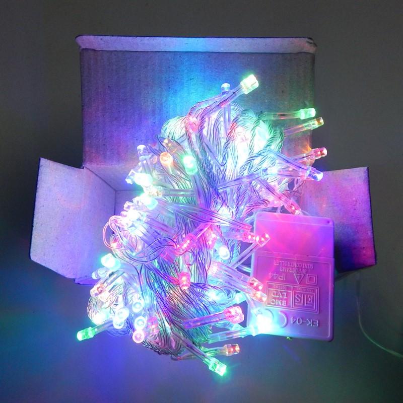 Гирлянда Нить электрическая 200 led, мульти, прозрачный провод, 10,5м.