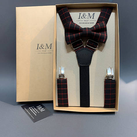 Набір I&M Craft краватка-метелик і підтяжки для штанів чорний в червону клітку (030297), фото 2