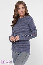 Женский свитер крупной вязки с длинным оригинальным рукавом, фото 2