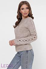 Жіночий светр великої в'язки з довгим оригінальним рукавом, фото 3