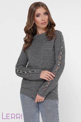 Жіночий светр великої в'язки з довгим оригінальним рукавом, фото 2