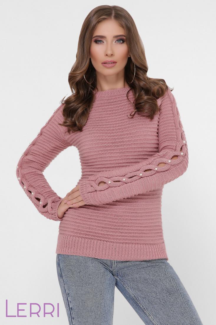Вязанный стильный женский свитер по фигуре