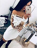 Модное теплое платье с паетками Норма